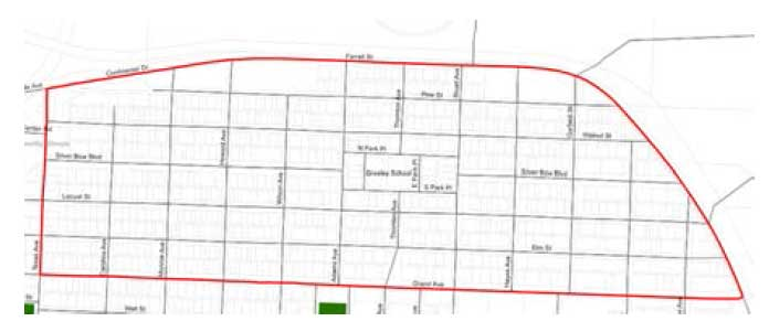 Map: Borders of the Greeley Neighborhood Planning Area