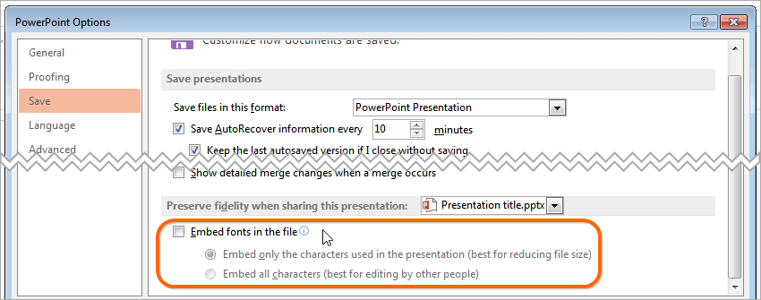 Powerpoint 2016 embed fonts in the file